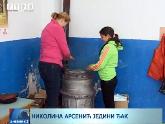 Nikolina Arsenić jedini đak u Tramošnji - Foto: RTRS