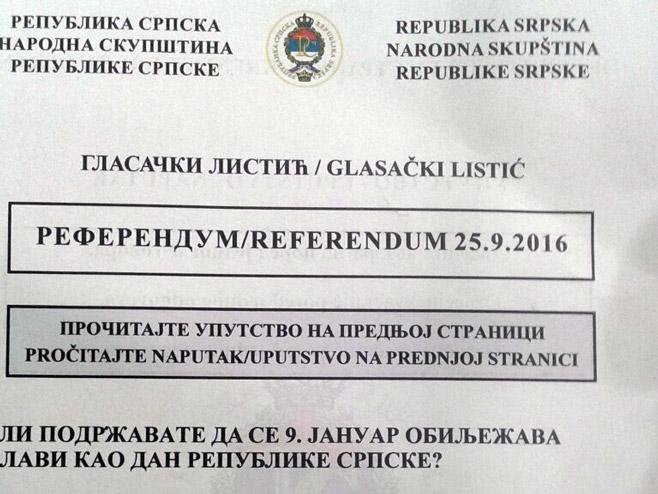 Referendum - Glasački listić - Foto: RTRS
