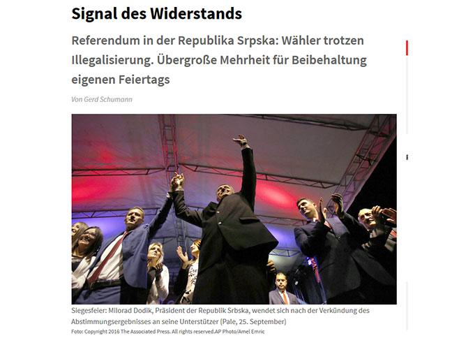 Stranica Јunga Velta o referendumu u Srpskoj - Foto: Screenshot