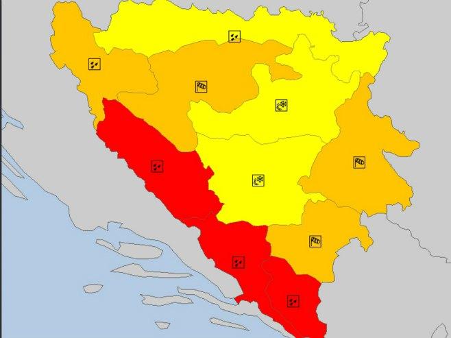 Crveno upozorenje za trebinjsku, mostarsku i livanjsku regiju (Foto: rhmzrs.com) -