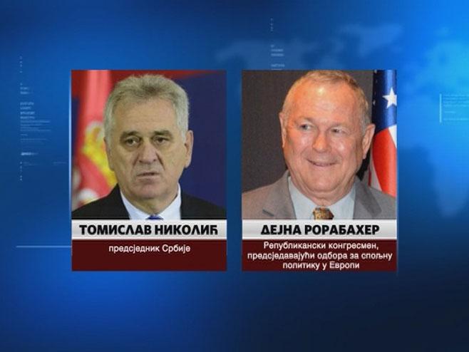 Tomislav Nikolić i Dejna Rorabaher - Foto: RTRS