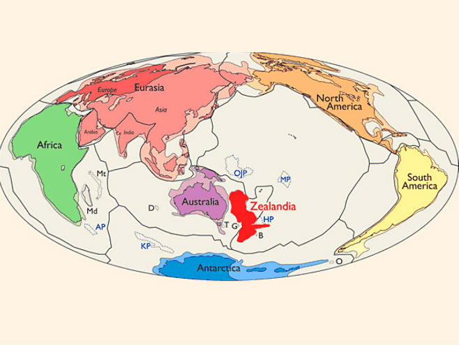 Novi kontinent Zelandija (Foto:  Nick Mortimer et al, doi: 10.1130/GSATG321A.1.) -