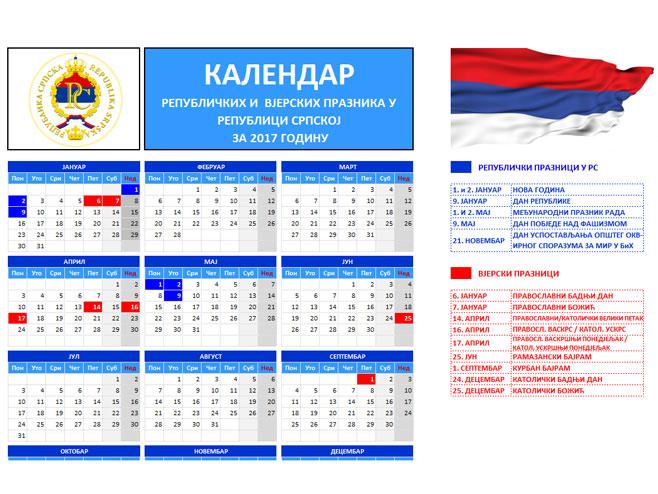 Kalendar republičkih i vjerskih praznika u Republici Srpskoj - Foto: Screenshot