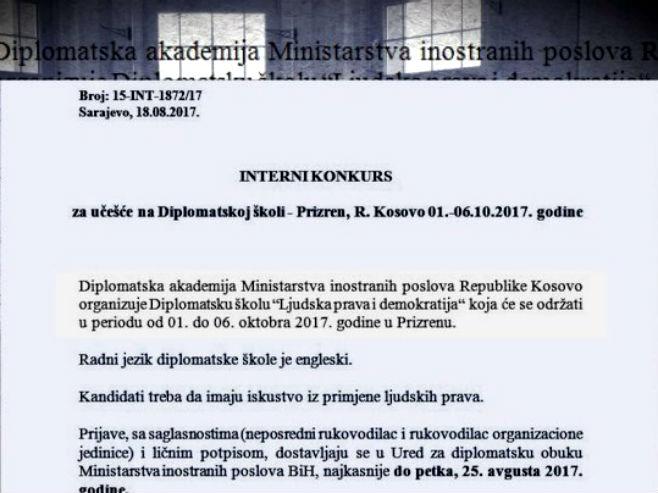 Interni dokument kojim se pozivaju kandidati MIP-a i DKP mreže da se usavršavaju na Kosovu - Foto: RTRS