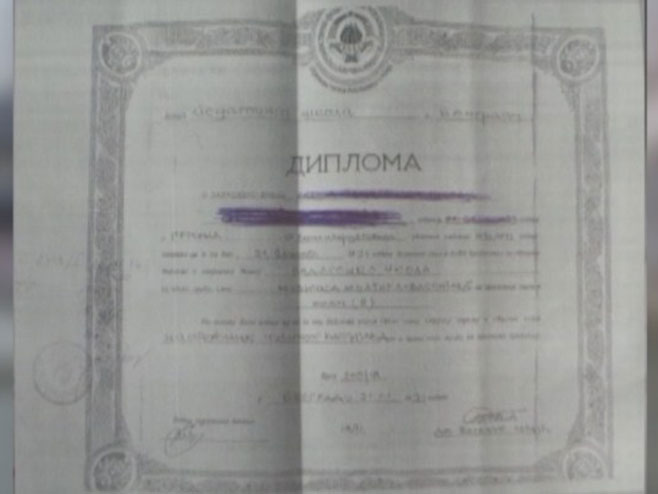Lažna diploma - Foto: RTRS