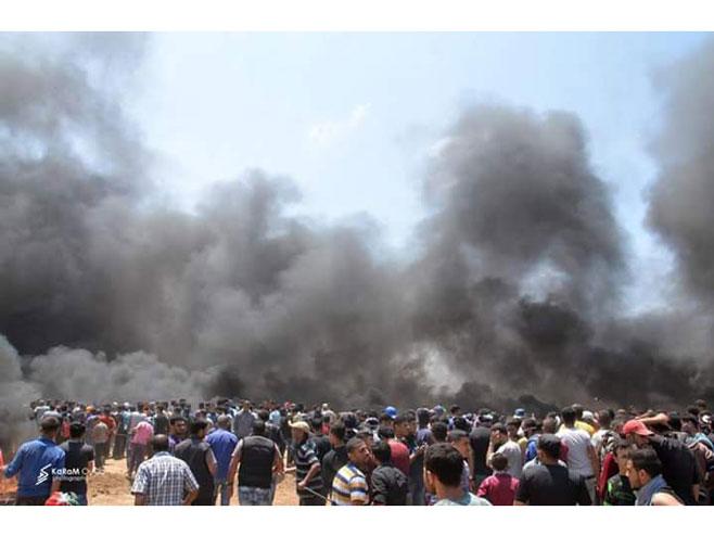 Ubijeno 18 Palestinaca u Pojasu Gaze (foto: twitter.com/GreatReturnMa) -
