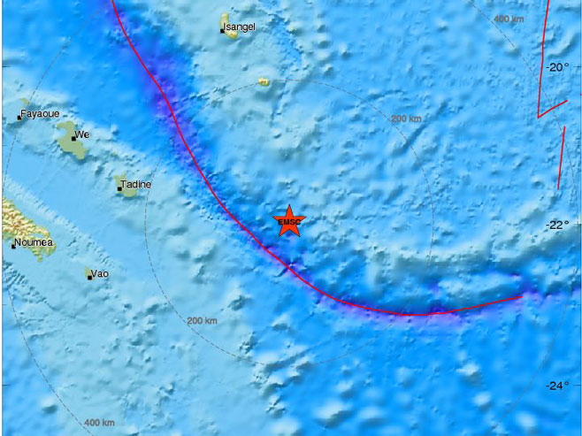 Potres snage 7,1 stepen kod Nove Kaledonije (Foto: www.emsc-csem.org) -