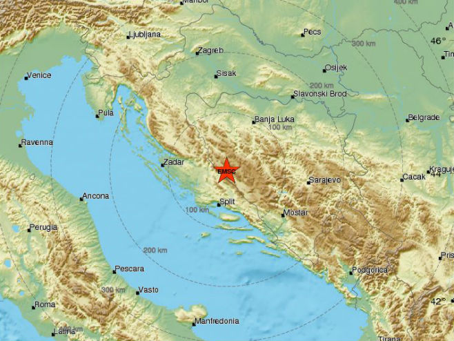 Zemljotres kod Glamoča (Foto:  EMSC) -