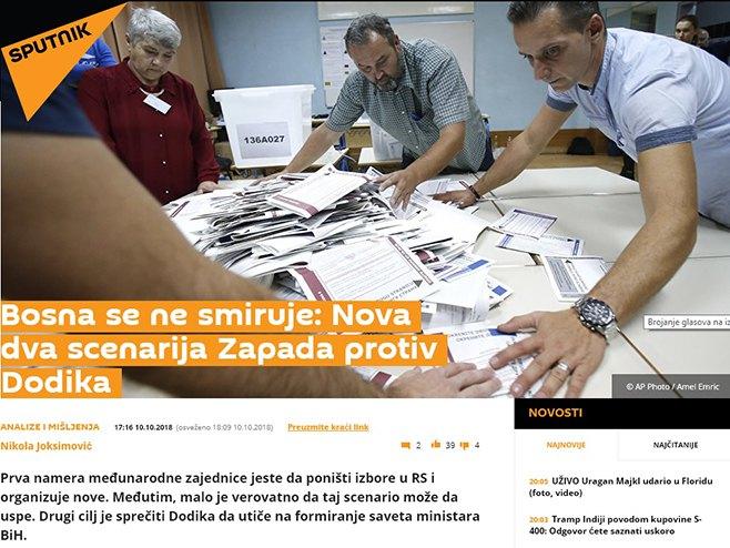 Sputnjik: Nova dva scenarija Zapada protiv Dodika - Foto: Screenshot