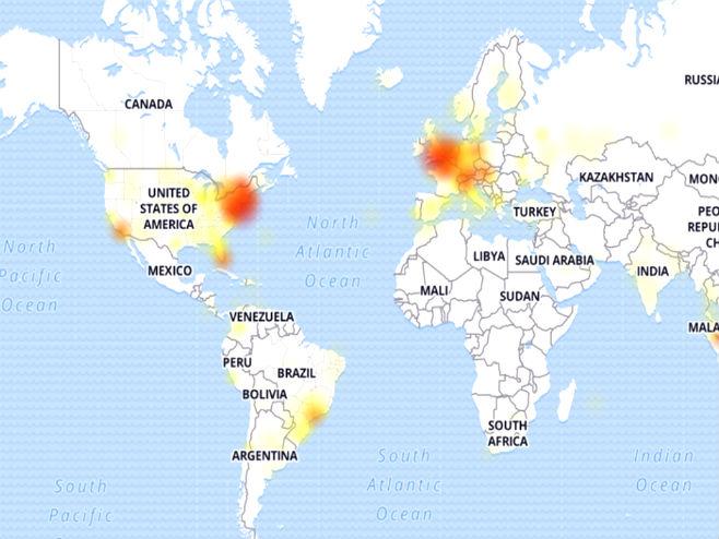 Pale društvene mreže (Foto: screenshot: down detector) -