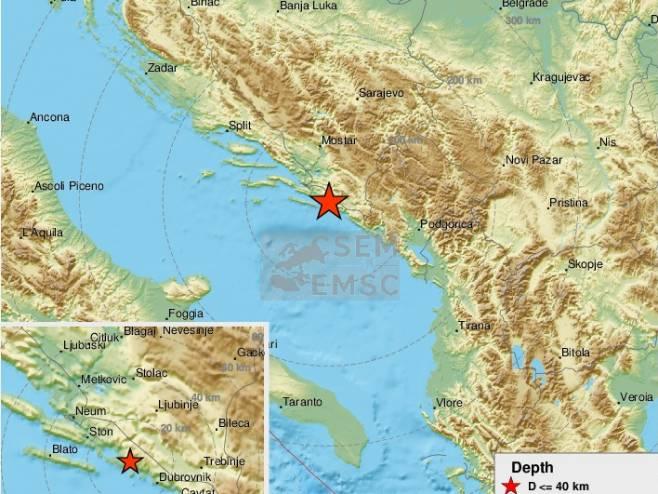 Epicentar zemljotresa (foto: twitter.com/LastQuake) -
