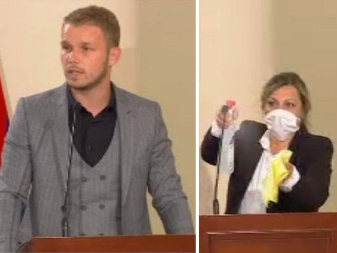 Draško Stanivuković - dezinfekcija govornice -