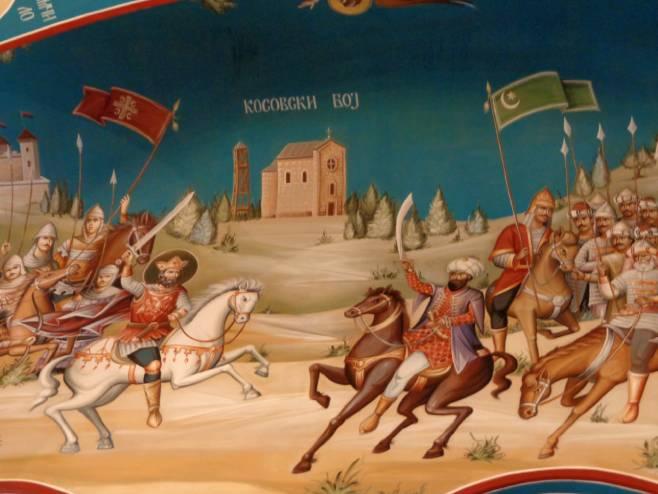 Boj na Kosovu (freska: Crkva Lazarica na Zvezdari, Beograd) -