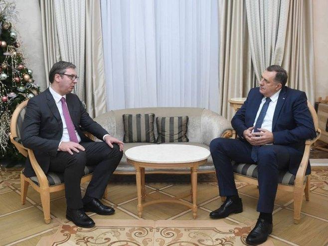 Aleksandar Vučić i Milorad Dodik (foto: instagram.com/buducnostsrbijeav) -