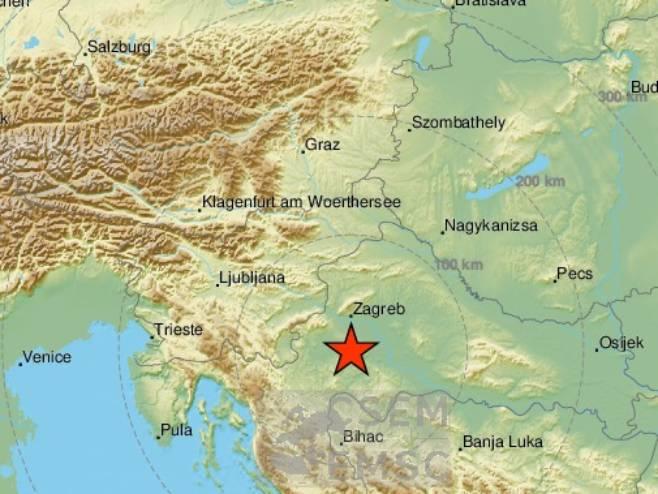 Zemljotres u Hrvatskoj (Foto: EMSC) - Foto: Twitter