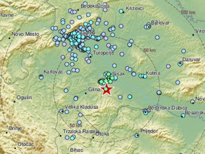 Zemljotres u Hrvatskoj (Foto: EMSC) -