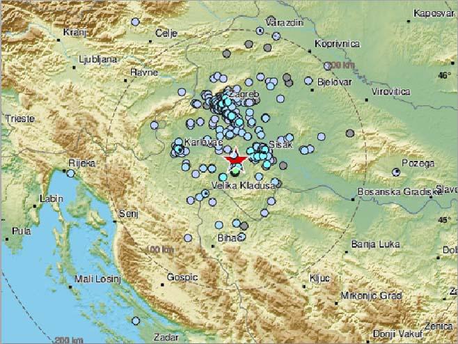 Zemljotres - Hrvatska (foto: EMSC) -