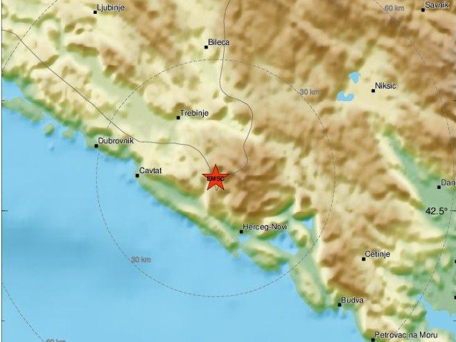 Epicentar zemljotresa (foto: emsc.eu) -
